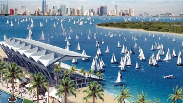 An artist's rendition of how the iconic Miami Marine Stadium would look if enough funding can be raised to renovate the structure.