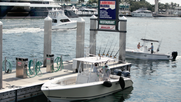 Boaters fill the Intracoastal Waterway Jan. 20 at the Lauderdale Marina in Fort Lauderdale. Ted Drum, president of the family-owned marina established in 1948, credits low gas prices and the recovering economy for the increase of recreational boaters.
